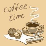 Tasse Kaffee für Menü Auch im corel abgehobenen Betrag Lizenzfreies Stockbild