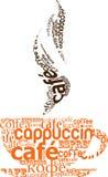 Tasse Kaffee hergestellt von der Typografie Stockfotografie