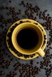 Tasse Kaffee Ideal zum Frühstück Platz für Text stockfoto
