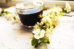 Tasse Kaffee mit Frühlingsblumen Stockfoto