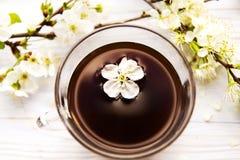 Tasse Kaffee mit Frühlingsblumen Stockbilder