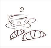 Tasse Kaffee mit Hörnchen Stockbilder