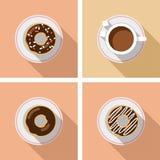 Tasse Kaffee mit Kuchen - Vektorgrafik Stockbilder