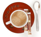 Tasse Kaffee mit Schaumgummi lizenzfreies stockbild