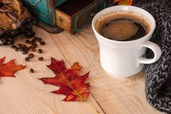 Tasse Kaffee mit Strickjacke lizenzfreies stockbild