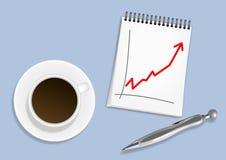 Tasse Kaffee-, Notizblock- und Silberfeder stock abbildung