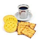 Tasse Kaffee und Biskuite Lizenzfreie Stockbilder