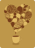 Tasse Kaffee und Bonbons Stockbild