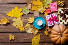 Tasse Kaffee und Kürbis Lizenzfreies Stockfoto