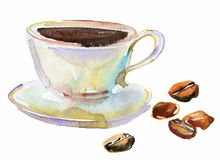 Tasse Kaffee und Kaffeebohnen. Aquarell Stockfoto