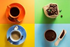 Tasse Kaffee und Kakao am bunten Papier Lizenzfreies Stockfoto