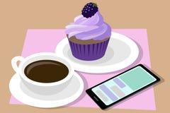Tasse Kaffee und kleiner Kuchen telefon Vektor Stockfoto