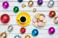 Tasse Kaffee und macaron Lizenzfreies Stockfoto