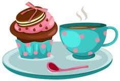 Tasse Kaffee Und Netter Cupkuchen Vektor Abbildung Illustration
