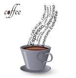 Tasse Kaffee und Wörter Stockfoto