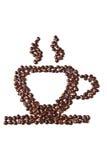 Tasse Kaffee von den Kaffeebohnen Stockfotos
