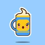 Tasse mignonne de personnage de dessin animé de café sur l'illustration blanche de vecteur de fond Chaud positif et amical drôle Photo libre de droits