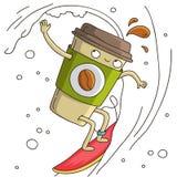 Tasse mignonne et gaie de ressac de café Image libre de droits