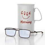 Tasse ou cuvette de café avec le visage de sourire Photographie stock libre de droits