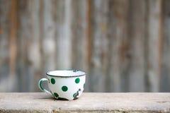 Tasse pointillée par vintage avec du charme en métal Photo libre de droits