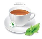Tasse réaliste de thé en bon état Photographie stock