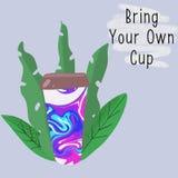 Tasse r?utilisable parmi des feuilles illustration libre de droits