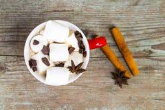 Tasse rouge avec du chocolat chaud avec de la cannelle fondue de guimauve et Photo stock
