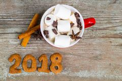 Tasse rouge avec du chocolat chaud avec de la cannelle fondue de guimauve et Photo libre de droits