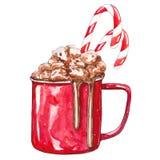 Tasse rouge de cacao avec des guimauves illustration libre de droits