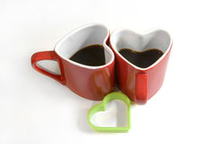 Tasse rouge de coeur de coffe Photo stock