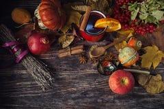 Tasse rouge de vin chaud chaud en automne parmi des feuilles Image libre de droits