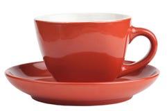 Tasse rouge vide d'isolement sur le blanc Photos libres de droits