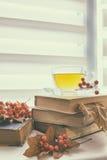 Tasse Tee, alte Bücher, Herbstlaub und Beeren Stockfotografie