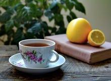 Tasse Tee, Buch, Früchte auf hölzerner Tabelle Stockfotografie
