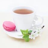 Tasse Tee die und süße und bunte Erdbeerfranzösische Makrone lizenzfreie stockbilder