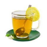 Tasse Tee mit der Zitrone und Jasmin lokalisiert auf Weiß Stockbild