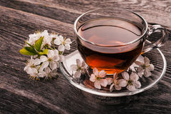 Tasse Tee mit Frühlingsblumen-Kirschblüte Stockfotografie