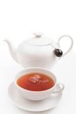 Tasse Tee mit Tepotentiometer Stockfotos