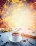 Tasse Tee mit Thymian, Herbstlaub und offenem Buch auf hölzernem Fensterbrett auf Naturherbst blured Hintergrund Stockfoto