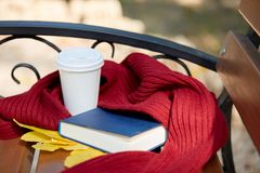 Tasse Tee oder coffe mit blauem Buch Nd des roten Schals auf dem Tisch Stockbild