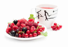 Tasse Tee und Beeren Stockbilder