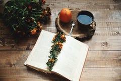Tasse Tee und Persimone Stockfoto