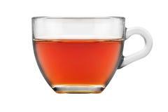 Tasse Tee von einem Glas auf lokalisiertem weißem Hintergrund Stockfotografie