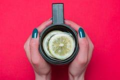 Tasse thermo avec le thé images libres de droits