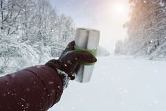 Tasse thermo de fer de thé en hiver Tasse chaude en hiver images libres de droits