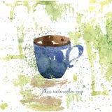 Tasse tirée par la main bleue d'aquarelle avec le grunge Illustration Stock