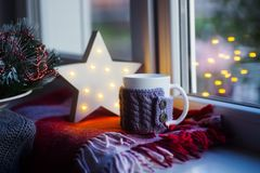 Tasse tricotée avec le thé sur le plaid à carreaux près de la fenêtre avec l'étoile de Noël blanc de LED sur le fond photos libres de droits