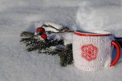 Tasse tricotée de boisson chaude à l'arrière-plan d'hiver Image libre de droits
