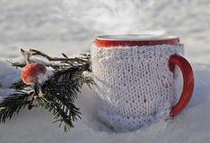 Tasse tricotée de boisson chaude à l'arrière-plan d'hiver Photos stock