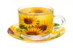 Tasse und Untertassen-Sonnenblumen stockbilder